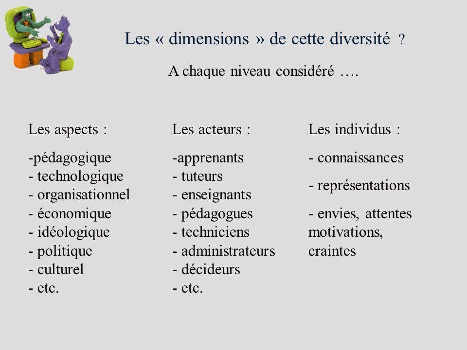 Les « dimensions » de cette diversité ? A chaque niveau considéré …. Les aspects : -pédagogique - technologique - organisationnel - économique - idéol