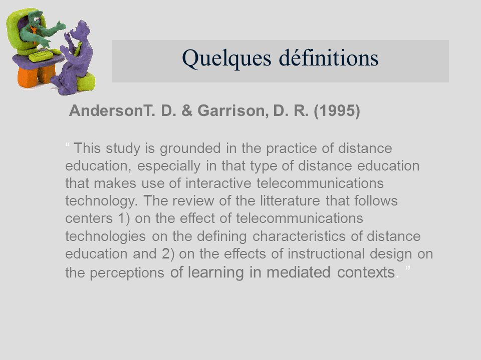 This study is grounded in the practice of distance education, especially in that type of distance education that makes use of interactive telecommunic