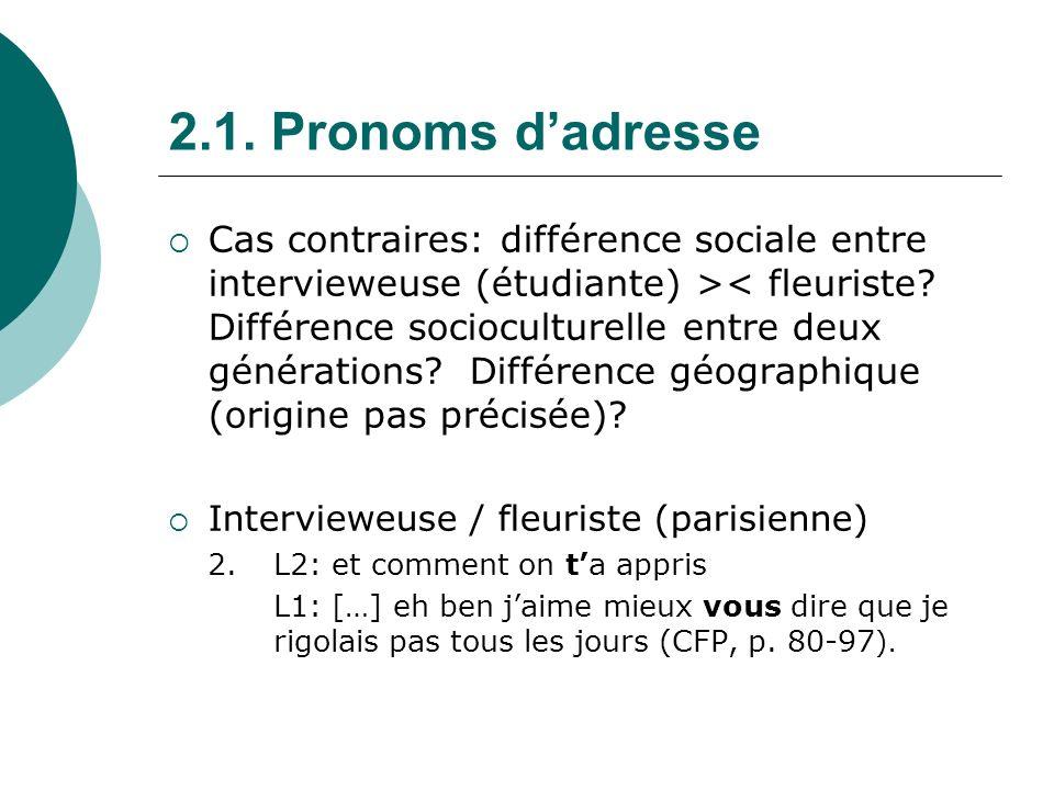 2.1.Pronoms dadresse Formules « figées » (tu vois, arrivederci), expressions généralisantes : 3.