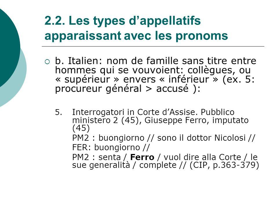 2.2.Les types dappellatifs apparaissant avec les pronoms c.