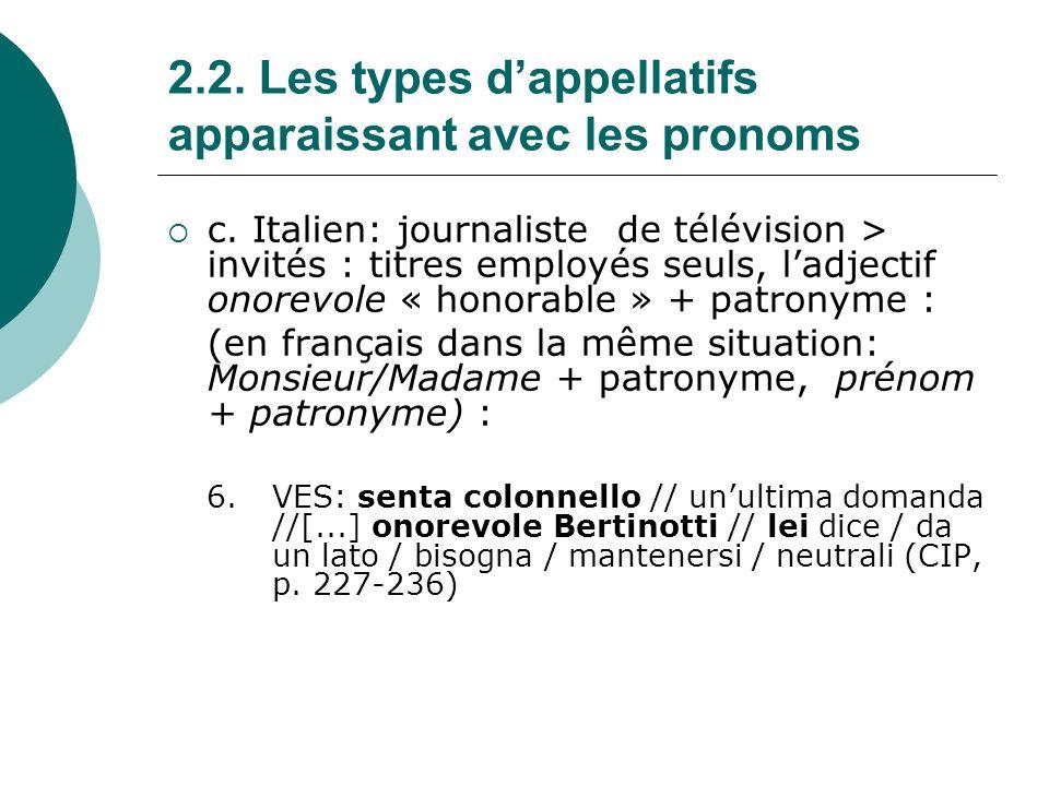 2.2.Les types dappellatifs apparaissant avec les pronoms d.
