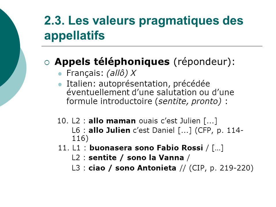 2.3.Les valeurs pragmatiques des appellatifs b.