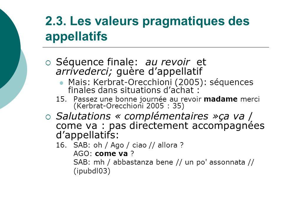2.3.Les valeurs pragmatiques des appellatifs c.