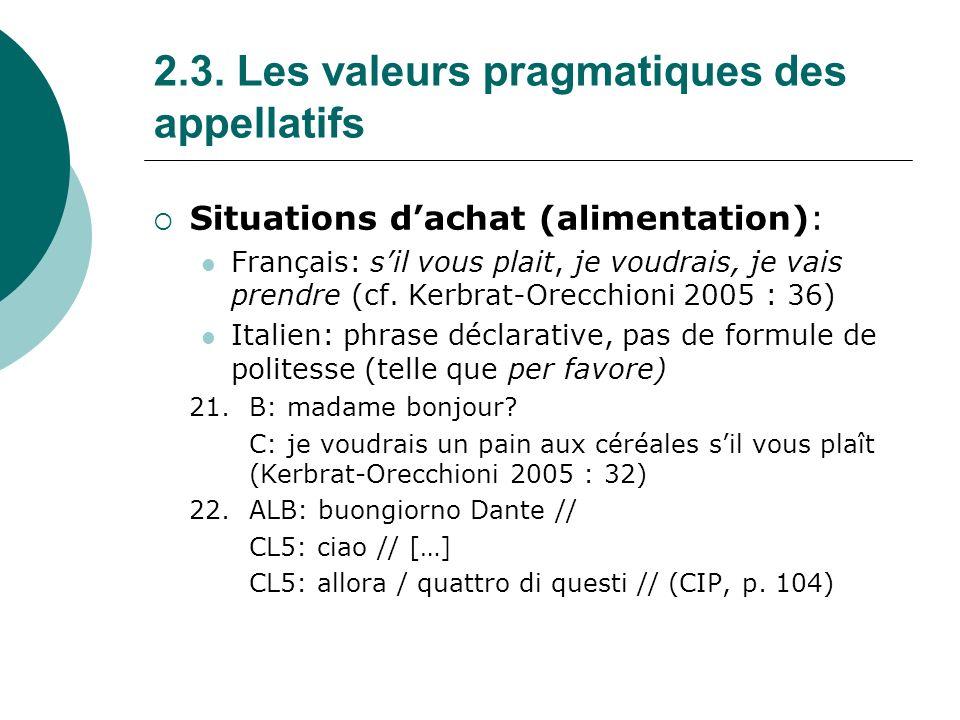 2.3.Les valeurs pragmatiques des appellatifs II.