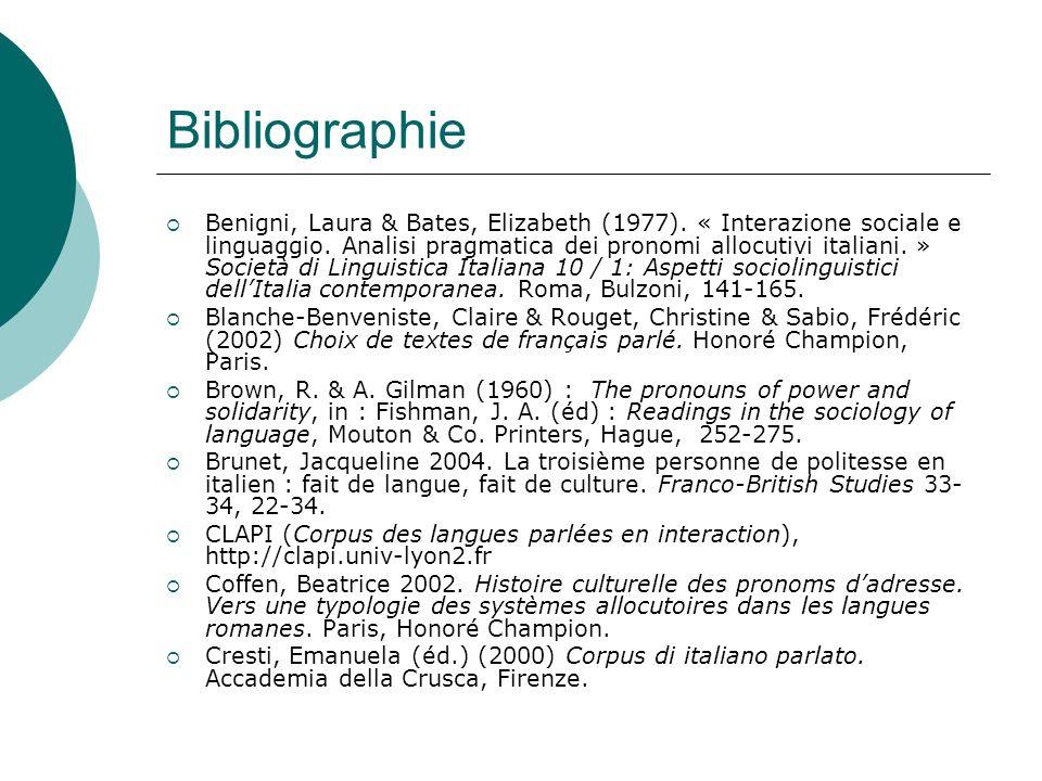 Bibliographie Cresti, E.& Moneglia, M. (éds) (2005) C-ORAL-ROM.