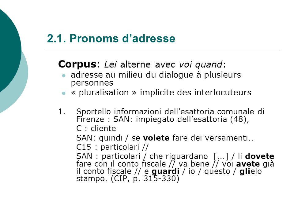 2.1.Pronoms dadresse Corpus/pluriel: toujours voi> la différence T/V sefface au pl.