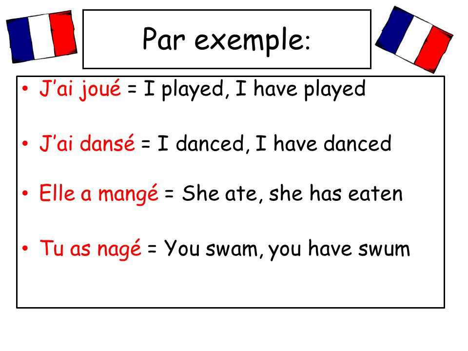 Le passé composé (the perfect tense) In French you use the perfect tense to say what you have done in the past. The passé composé is usually formed by