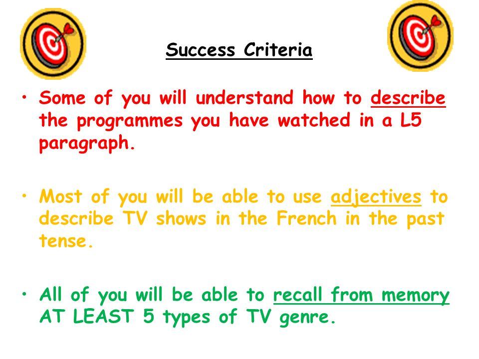 Past tense extension adjective Creating your own language Eg, Hier, TV show jai vuun dessin animé cétait amusant.