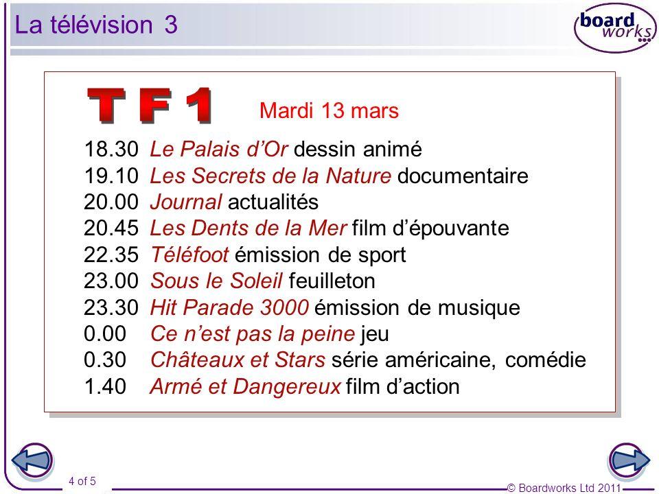 © Boardworks Ltd 2011 5 of 5 La télévision 7