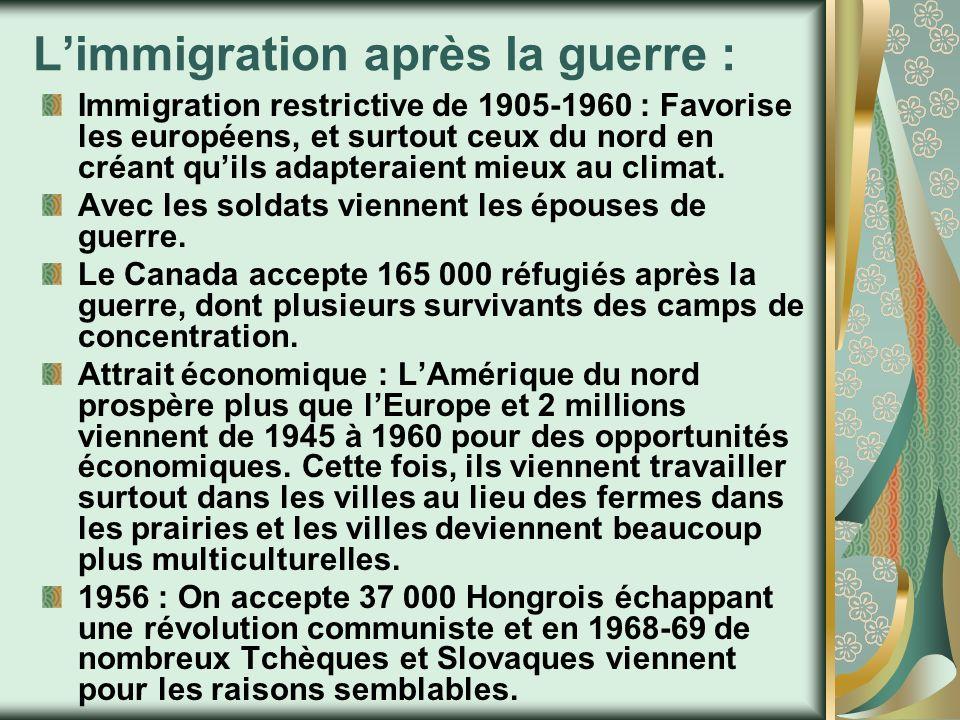 Limmigration après la guerre : Immigration restrictive de 1905-1960 : Favorise les européens, et surtout ceux du nord en créant quils adapteraient mie