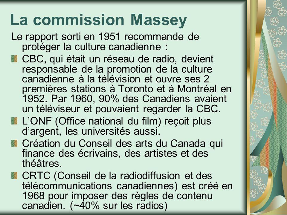 La commission Massey Le rapport sorti en 1951 recommande de protéger la culture canadienne : CBC, qui était un réseau de radio, devient responsable de