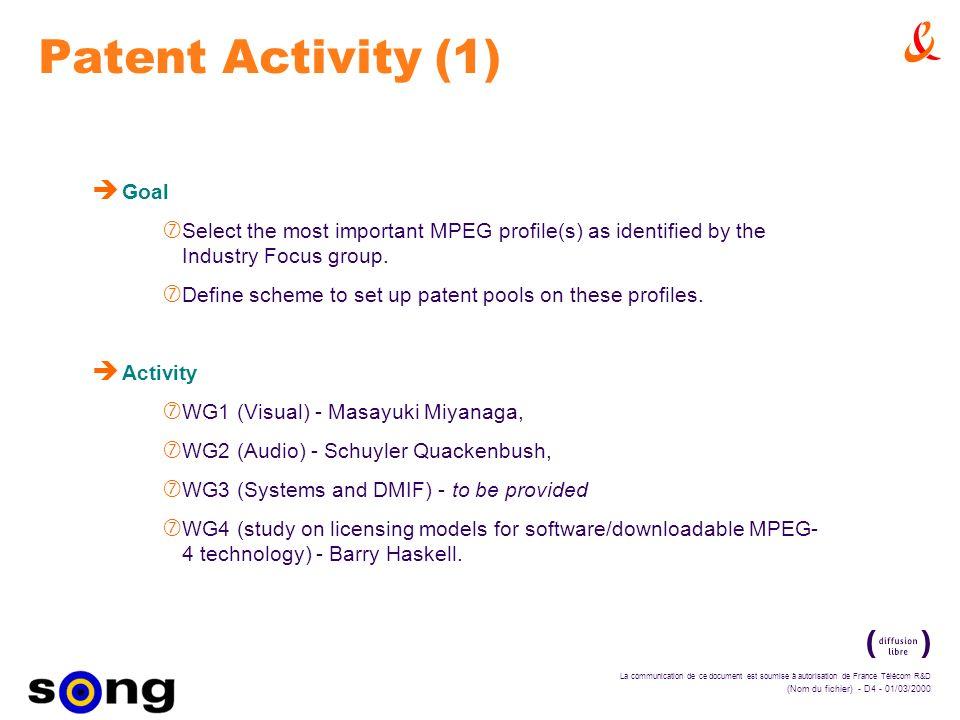 La communication de ce document est soumise à autorisation de France Télécom R&D (Nom du fichier) - D4 - 01/03/2000 Patent Activity (1) è Goal ‡ Select the most important MPEG profile(s) as identified by the Industry Focus group.