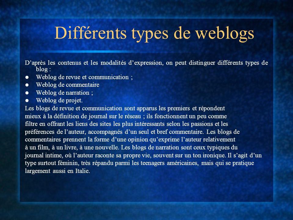 Différents types de weblogs Daprès les contenus et les modalités dexpression, on peut distinguer différents types de blog : Weblog de revue et communication ; Weblog de commentaire Weblog de narration ; Weblog de projet.