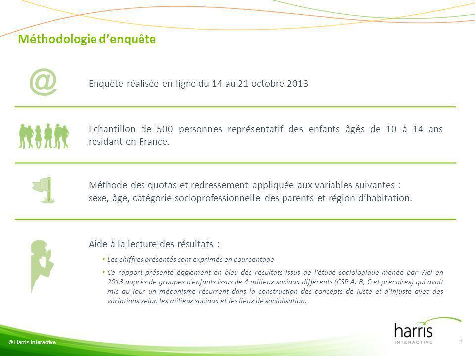 Méthodologie denquête © Harris Interactive 2 Enquête réalisée en ligne du 14 au 21 octobre 2013 Echantillon de 500 personnes représentatif des enfants âgés de 10 à 14 ans résidant en France.