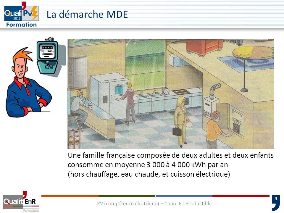 4 La démarche MDE Une famille française composée de deux adultes et deux enfants consomme en moyenne 3 000 à 4 000 kWh par an (hors chauffage, eau cha