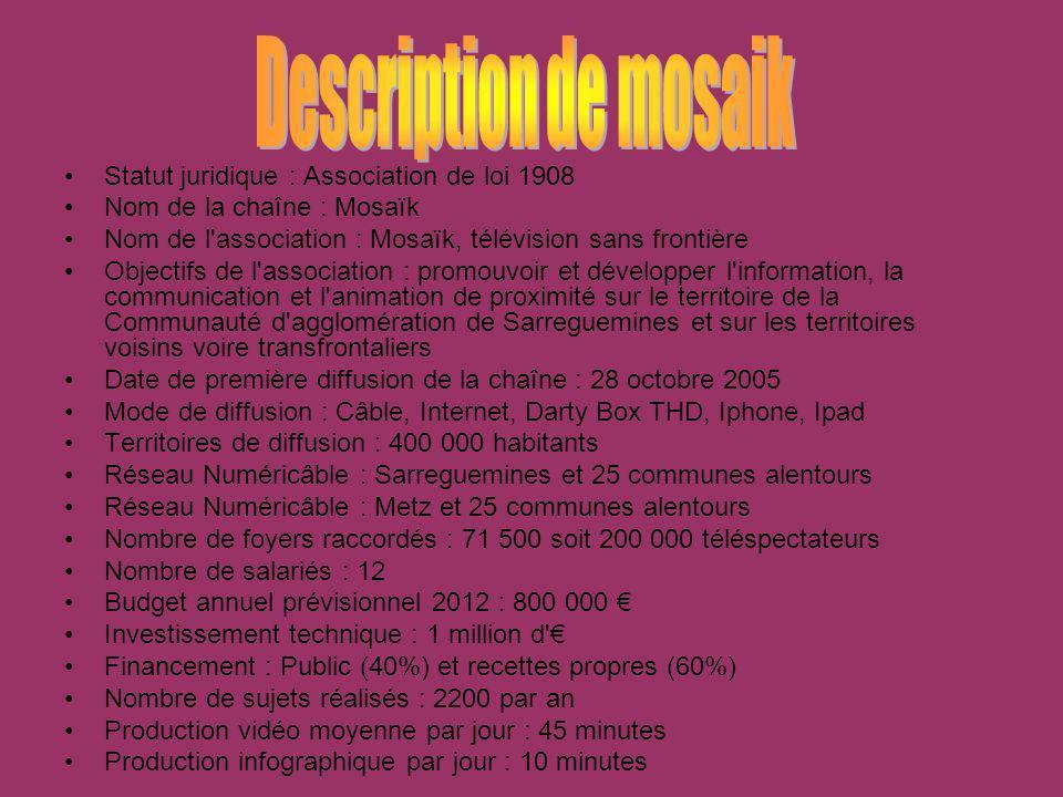 Statut juridique : Association de loi 1908 Nom de la chaîne : Mosaïk Nom de l'association : Mosaïk, télévision sans frontière Objectifs de l'associati