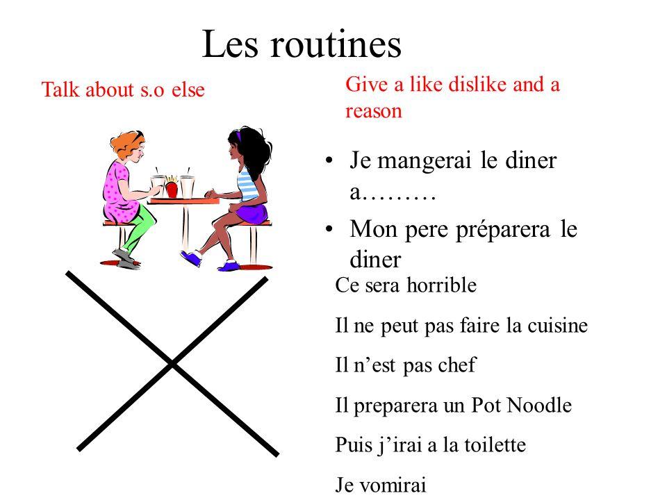Les routines Je mangerai le diner a……… Mon pere préparera le diner Give a like dislike and a reason Talk about s.o else Ce sera horrible Il ne peut pa