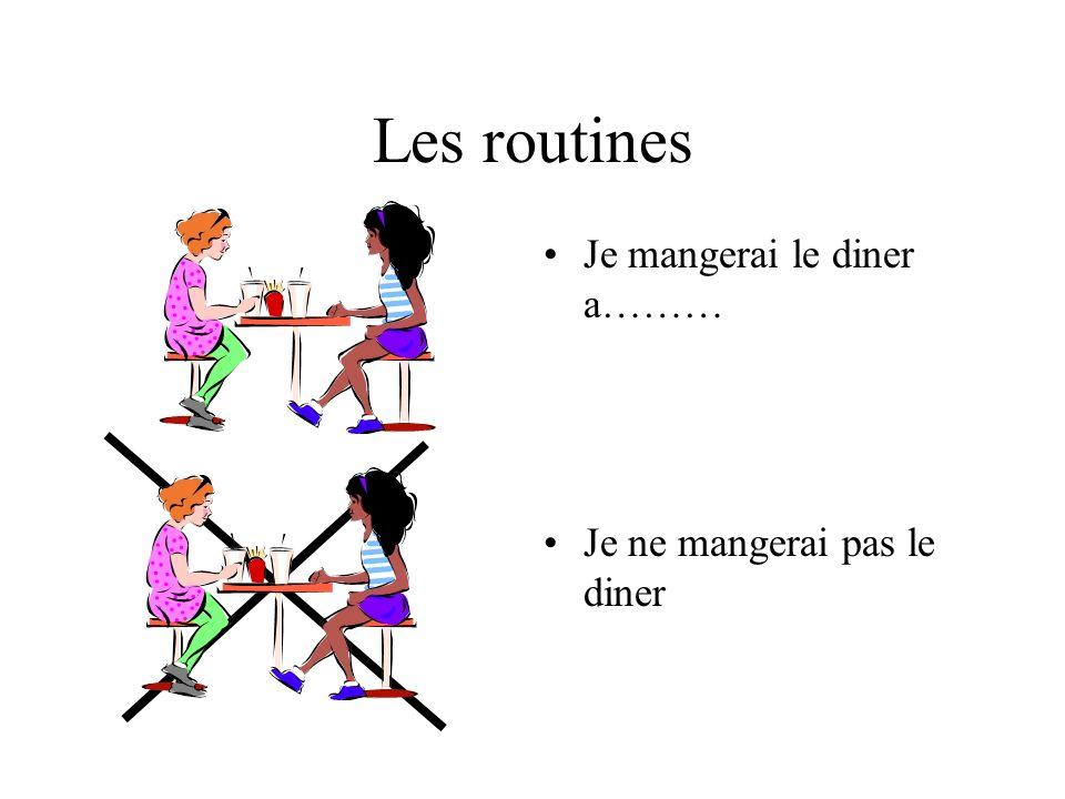 Les routines Je mangerai le diner a……… Je ne mangerai pas le diner