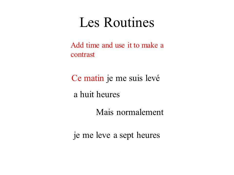 Les Routines Ce soir je mangerai le diner a 6 heures Add time and use it to make a contrast demain je ne mangerai pas – je sortirai mais