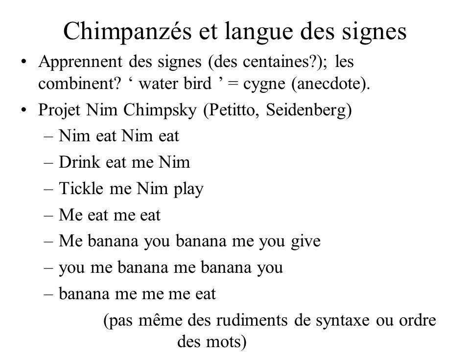 Chimpanzés et langue des signes Apprennent des signes (des centaines?); les combinent? water bird = cygne (anecdote). Projet Nim Chimpsky (Petitto, Se