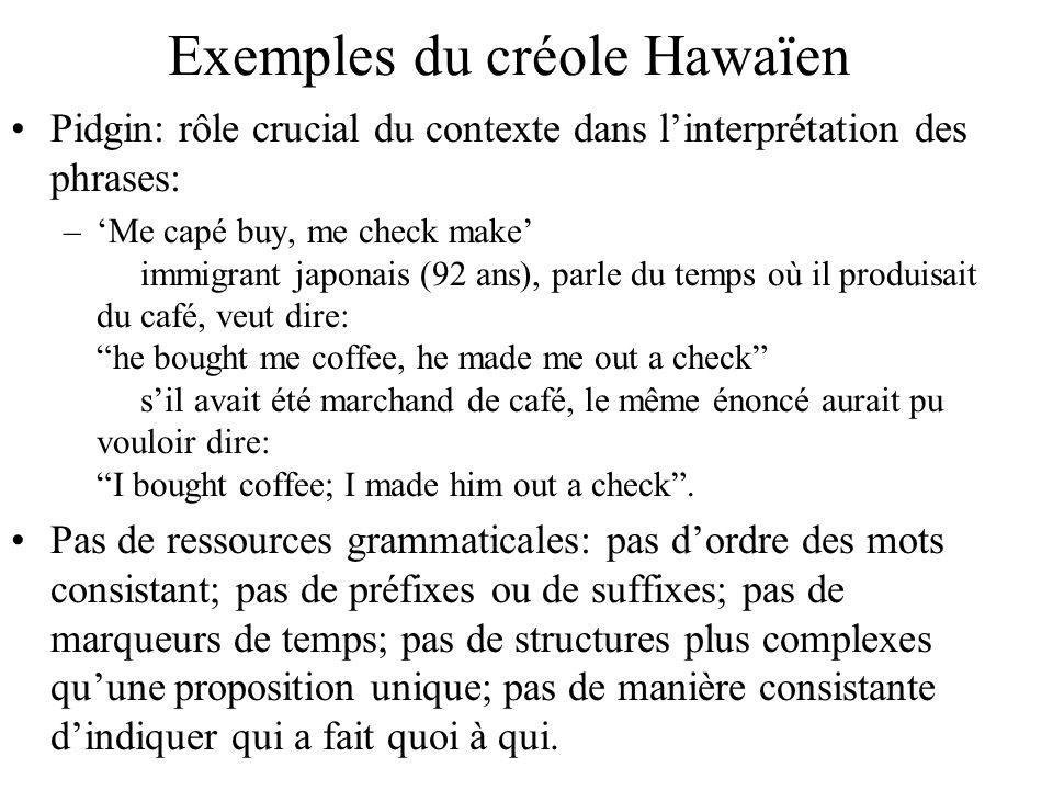 Exemples du créole Hawaïen Pidgin: rôle crucial du contexte dans linterprétation des phrases: –Me capé buy, me check make immigrant japonais (92 ans),