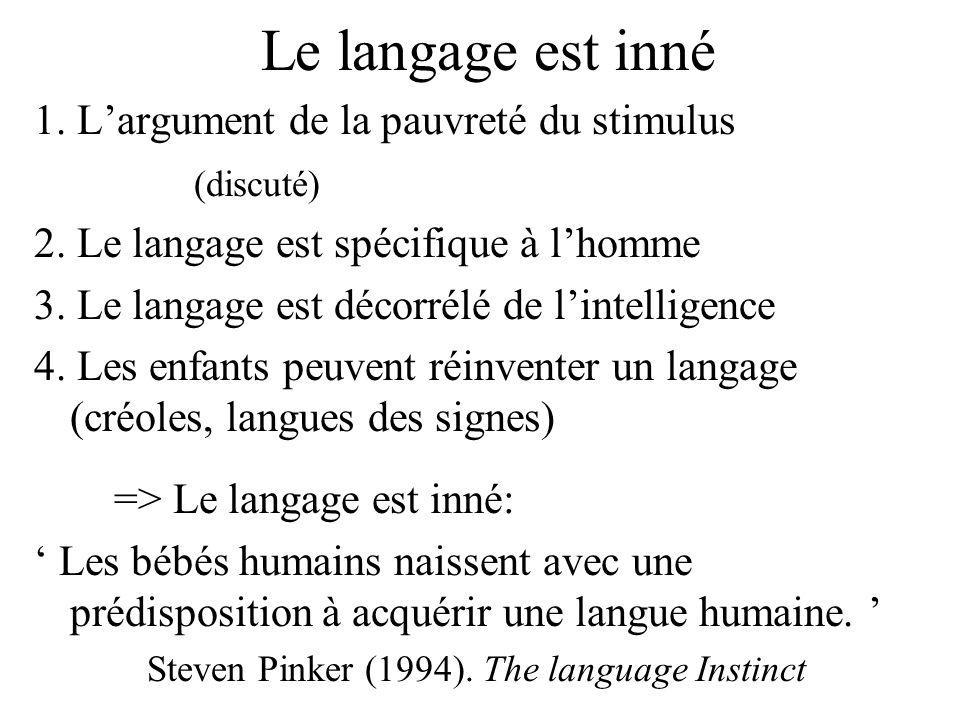 Le langage est inné 1. Largument de la pauvreté du stimulus (discuté) 2. Le langage est spécifique à lhomme 3. Le langage est décorrélé de lintelligen