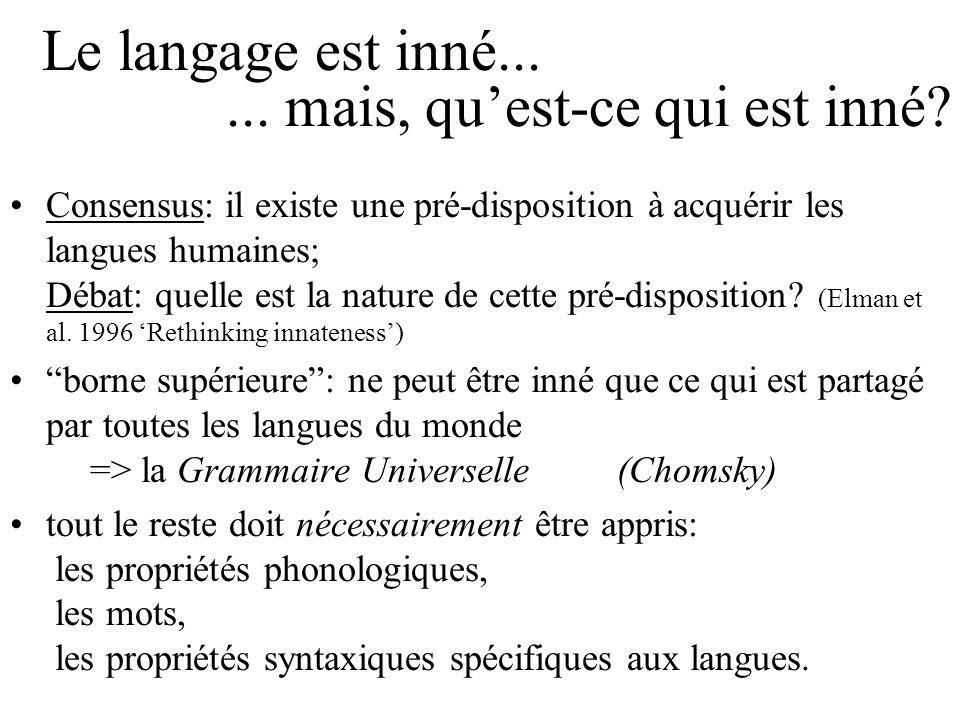 Le langage est inné... Consensus: il existe une pré-disposition à acquérir les langues humaines; Débat: quelle est la nature de cette pré-disposition?