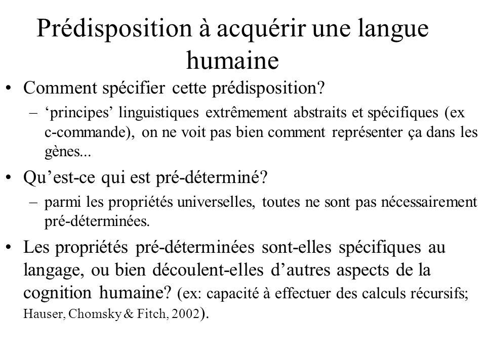 Comment spécifier cette prédisposition? –principes linguistiques extrêmement abstraits et spécifiques (ex c-commande), on ne voit pas bien comment rep