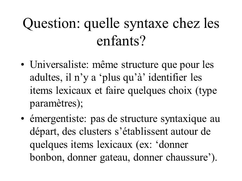 Question: quelle syntaxe chez les enfants? Universaliste: même structure que pour les adultes, il ny a plus quà identifier les items lexicaux et faire