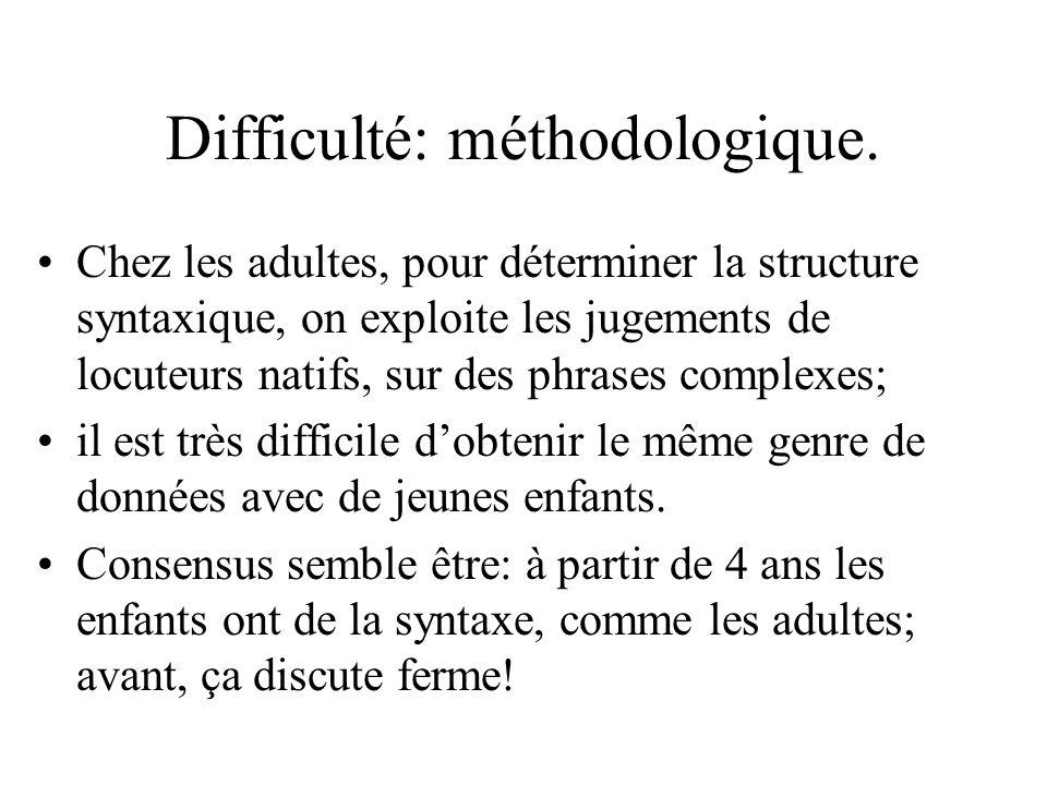 Difficulté: méthodologique. Chez les adultes, pour déterminer la structure syntaxique, on exploite les jugements de locuteurs natifs, sur des phrases