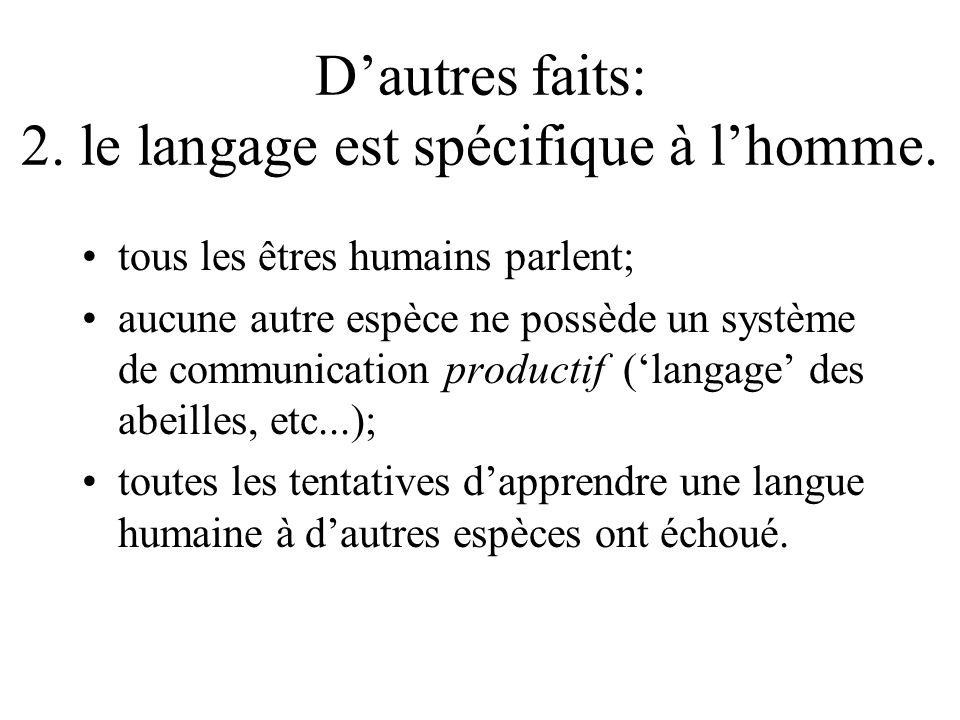Dautres faits: 2. le langage est spécifique à lhomme. tous les êtres humains parlent; aucune autre espèce ne possède un système de communication produ