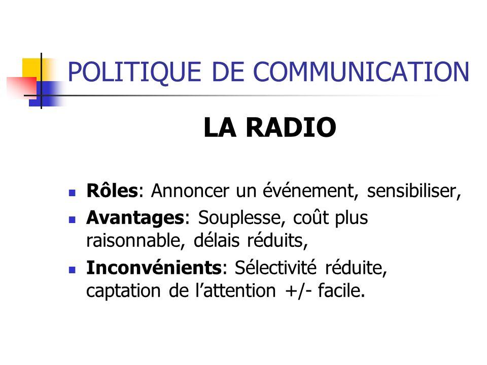 POLITIQUE DE COMMUNICATION LA RADIO Rôles: Annoncer un événement, sensibiliser, Avantages: Souplesse, coût plus raisonnable, délais réduits, Inconvéni
