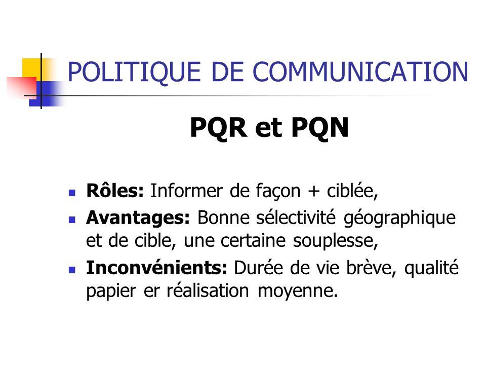 POLITIQUE DE COMMUNICATION PQR et PQN Rôles: Informer de façon + ciblée, Avantages: Bonne sélectivité géographique et de cible, une certaine souplesse