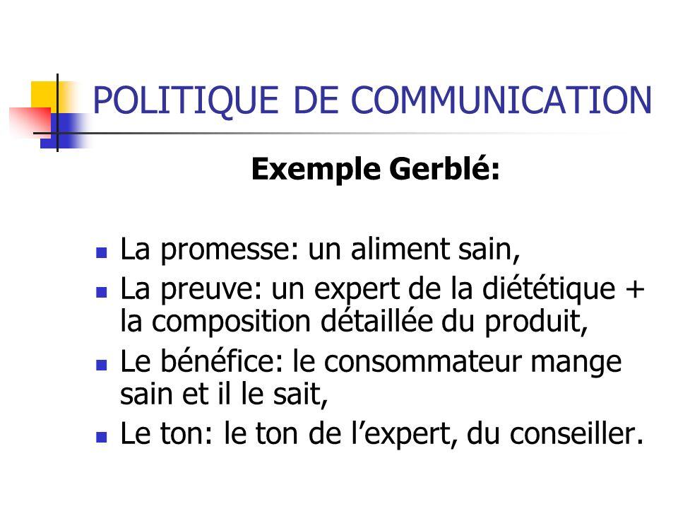 POLITIQUE DE COMMUNICATION Exemple Gerblé: La promesse: un aliment sain, La preuve: un expert de la diététique + la composition détaillée du produit,