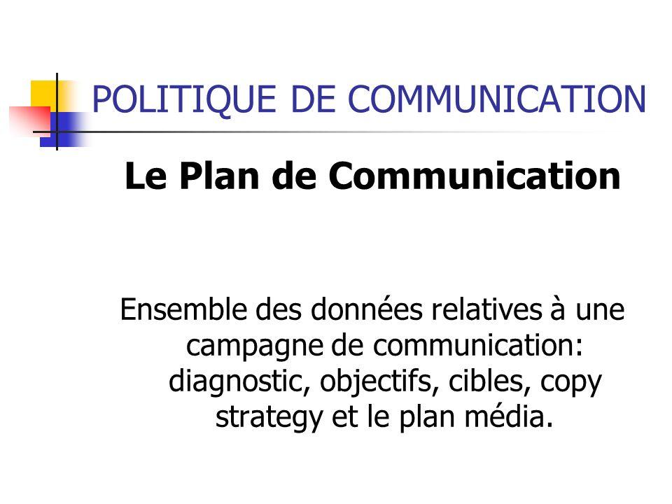 POLITIQUE DE COMMUNICATION Le Plan de Communication Ensemble des données relatives à une campagne de communication: diagnostic, objectifs, cibles, cop