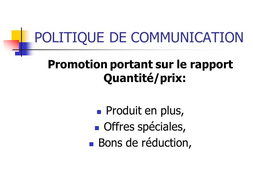 POLITIQUE DE COMMUNICATION Promotion portant sur le rapport Quantité/prix: Produit en plus, Offres spéciales, Bons de réduction,