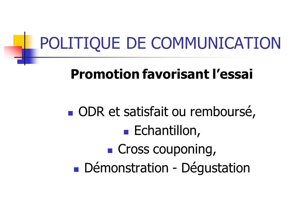 POLITIQUE DE COMMUNICATION Promotion favorisant lessai ODR et satisfait ou remboursé, Echantillon, Cross couponing, Démonstration - Dégustation
