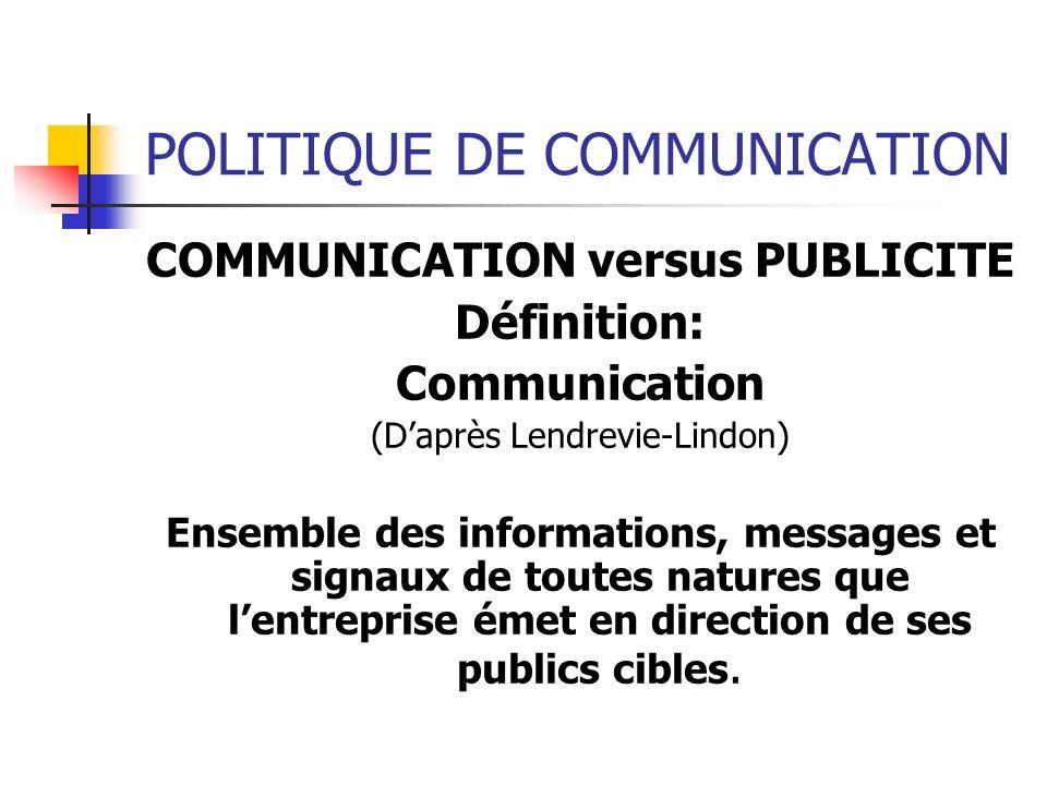 POLITIQUE DE COMMUNICATION Le Plan de Communication Ensemble des données relatives à une campagne de communication: diagnostic, objectifs, cibles, copy strategy et le plan média.
