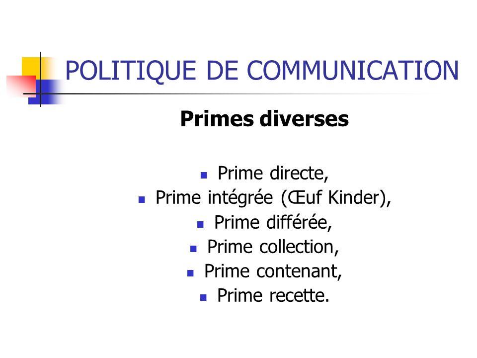POLITIQUE DE COMMUNICATION Primes diverses Prime directe, Prime intégrée (Œuf Kinder), Prime différée, Prime collection, Prime contenant, Prime recett