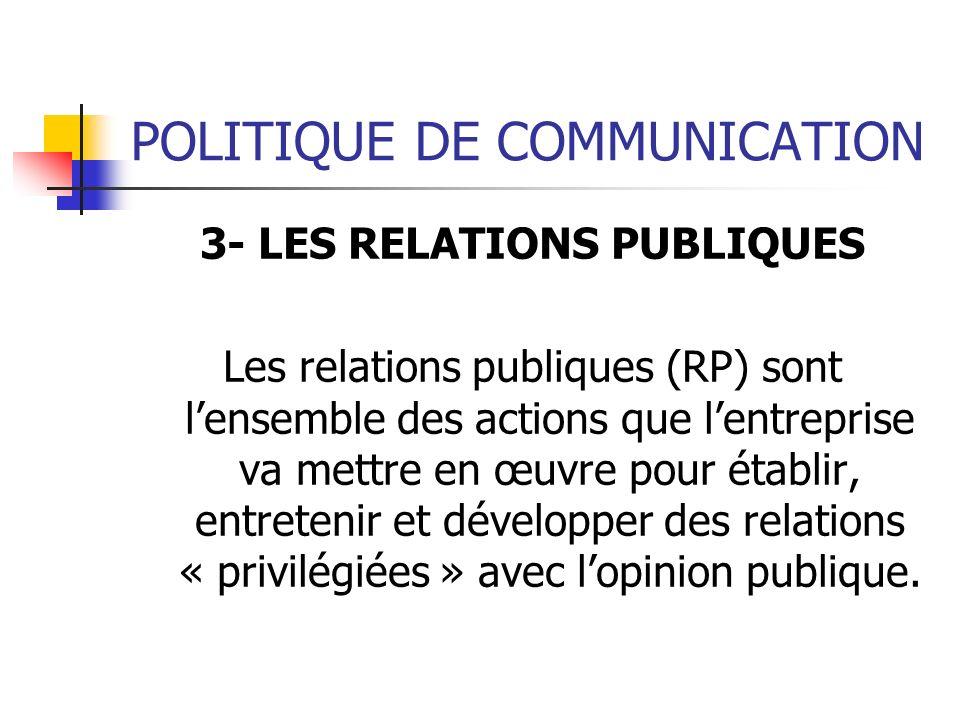 POLITIQUE DE COMMUNICATION 3- LES RELATIONS PUBLIQUES Les relations publiques (RP) sont lensemble des actions que lentreprise va mettre en œuvre pour