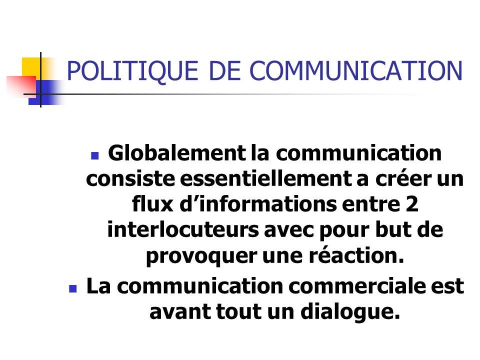 POLITIQUE DE COMMUNICATION Globalement la communication consiste essentiellement a créer un flux dinformations entre 2 interlocuteurs avec pour but de