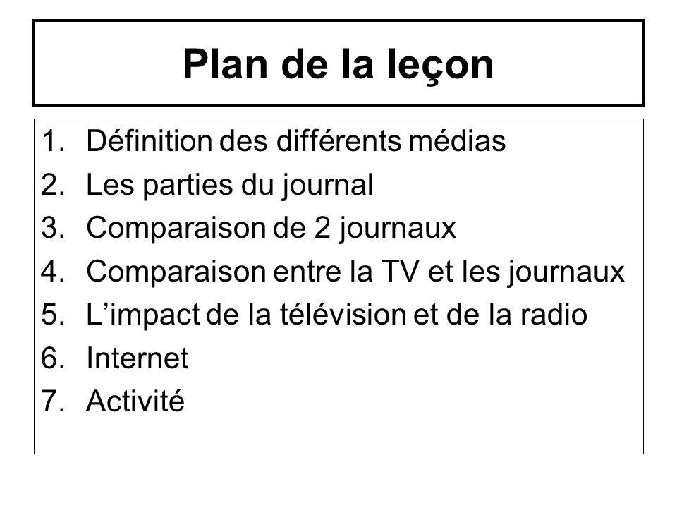 Plan de la leçon 1.Définition des différents médias 2.Les parties du journal 3.Comparaison de 2 journaux 4.Comparaison entre la TV et les journaux 5.L