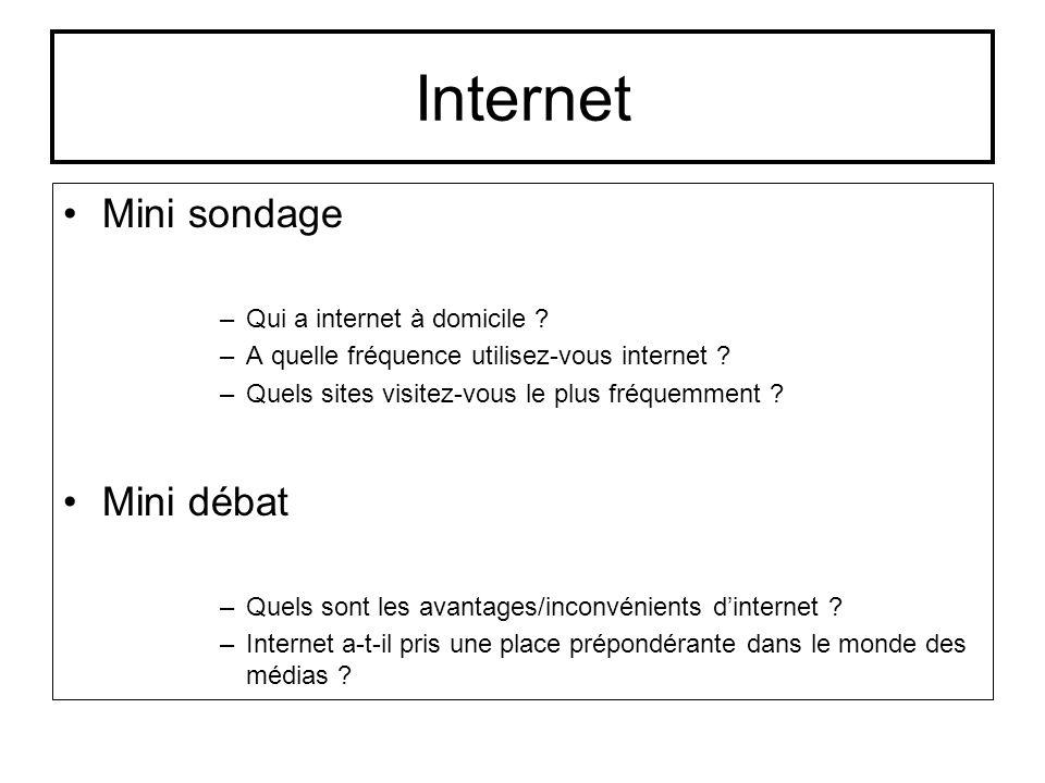 Internet Mini sondage –Qui a internet à domicile ? –A quelle fréquence utilisez-vous internet ? –Quels sites visitez-vous le plus fréquemment ? Mini d