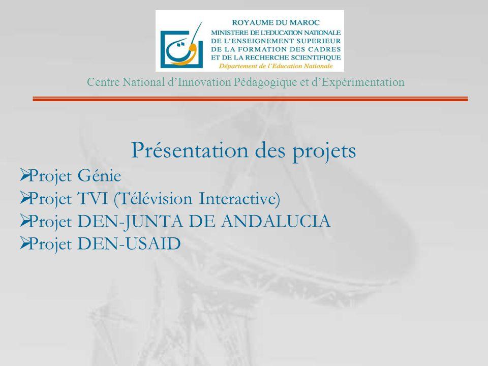Présentation des projets Projet Génie Projet TVI (Télévision Interactive) Projet DEN-JUNTA DE ANDALUCIA Projet DEN-USAID Centre National dInnovation P