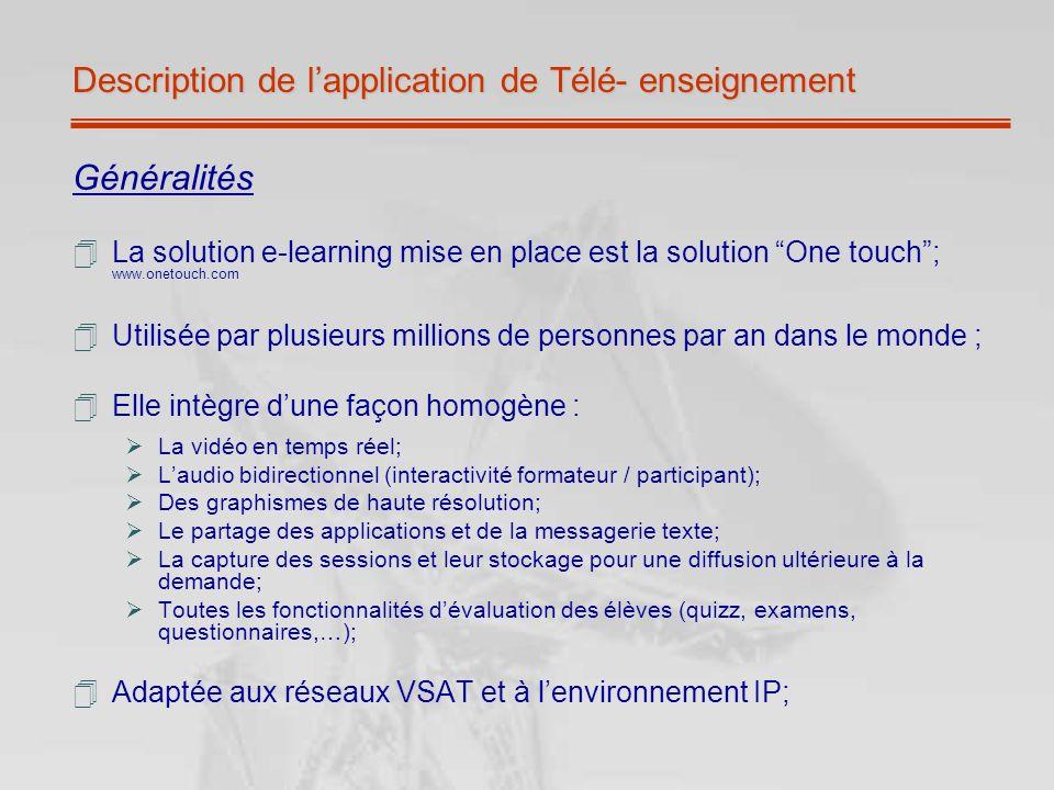 Description de lapplication de Télé- enseignement Généralités La solution e-learning mise en place est la solution One touch; www.onetouch.com Utilisé