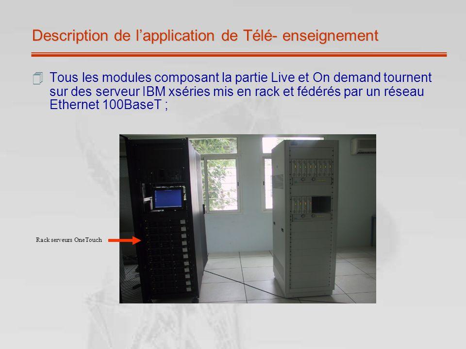 Description de lapplication de Télé- enseignement Tous les modules composant la partie Live et On demand tournent sur des serveur IBM xséries mis en r
