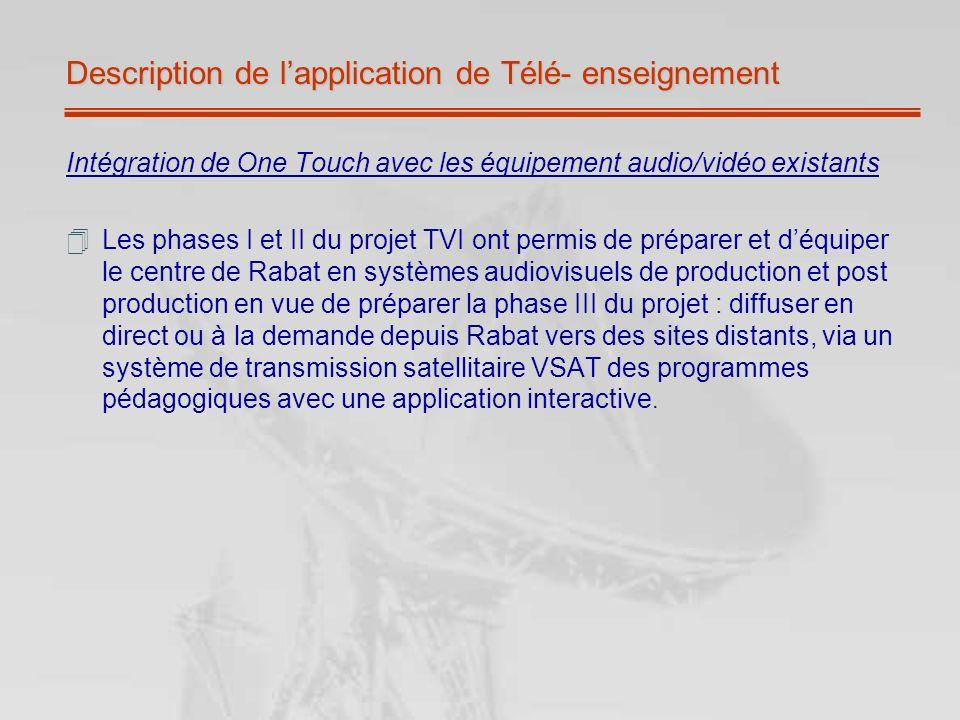 Description de lapplication de Télé- enseignement Intégration de One Touch avec les équipement audio/vidéo existants Les phases I et II du projet TVI