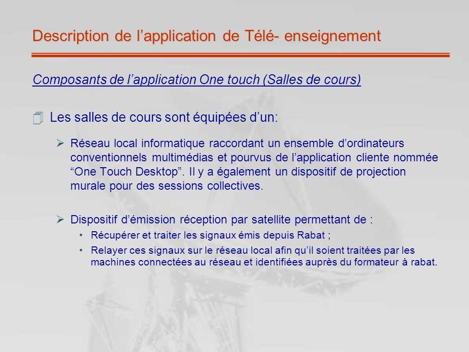 Description de lapplication de Télé- enseignement Composants de lapplication One touch (Salles de cours) Les salles de cours sont équipées dun: Réseau