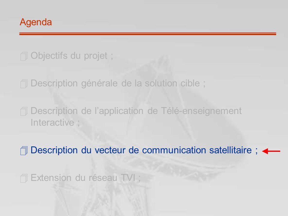 Agenda Objectifs du projet ; Description générale de la solution cible ; Description de lapplication de Télé-enseignement Interactive ; Description du