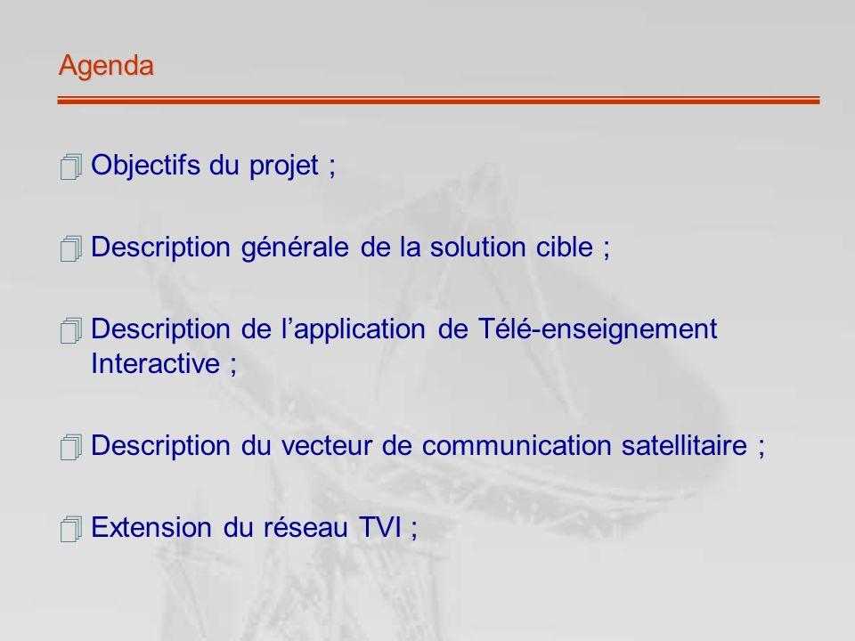 Agenda Objectifs du projet ; Description générale de la solution cible ; Description de lapplication de Télé-enseignement Interactive ; Description du vecteur de communication satellitaire ; Extension du réseau TVI ;